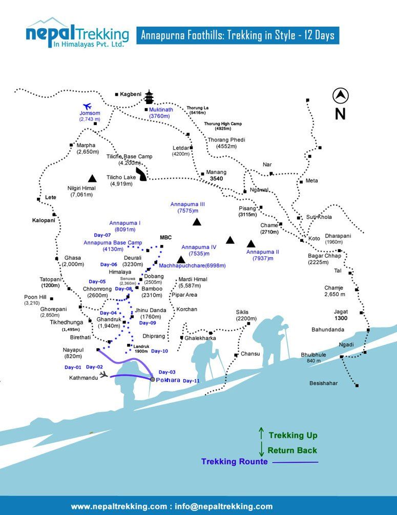 Annapurna Foothills: Trekking in Style Map