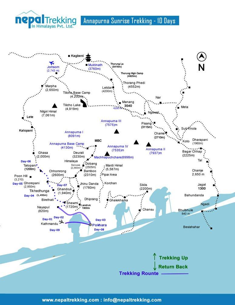 Annapurna Sunrise Trekking Map