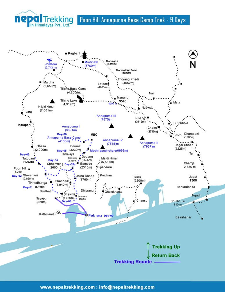 Poon Hill Annapurna Base Camp Trekking Map