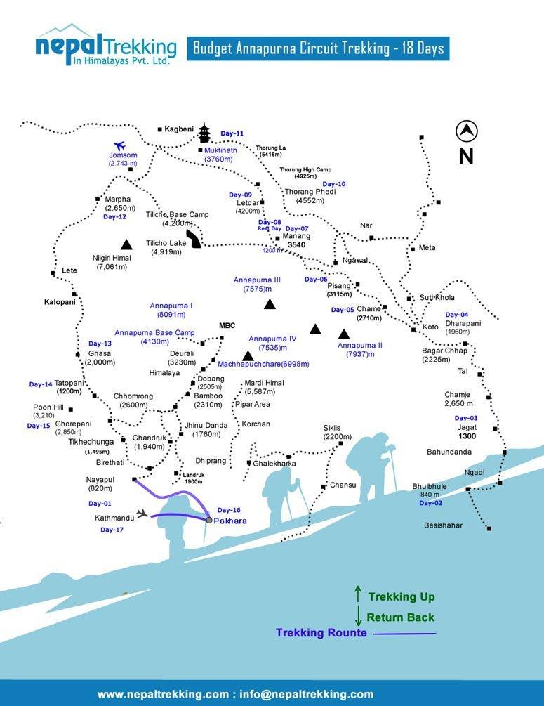 Budget Annapurna Circuit Trekking Map