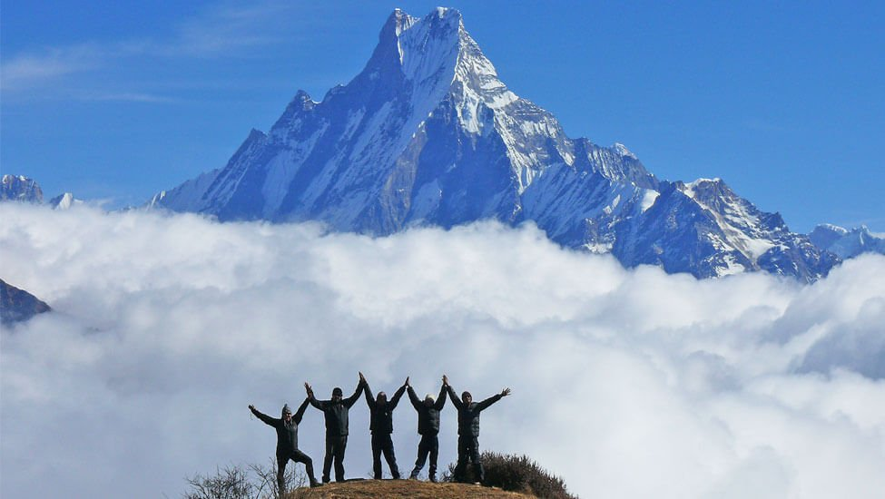 Trekkers Group on Mountains